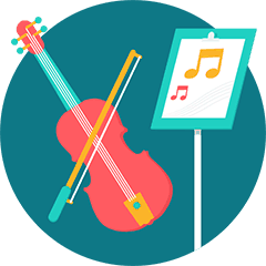Cello and music stand with sheet music. Take Note offers in-home music lessons and singing lessons in Brooklyn, Manhattan, Queens and Westchester County.
